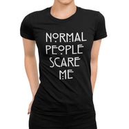 "Women's T-Shirt ""Normal People Scare Me""-Black-XL-"