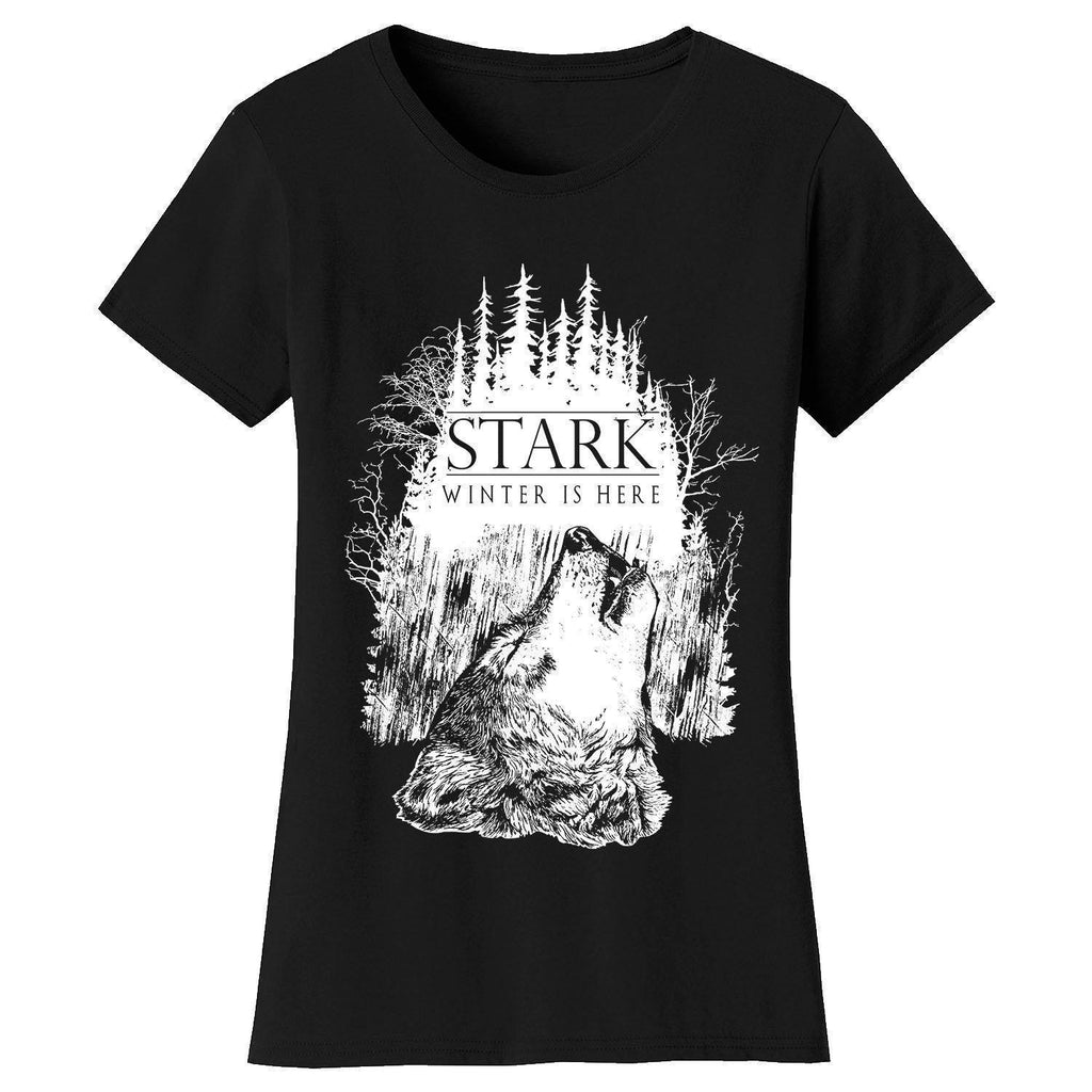 Daily Steals-Women's Thrones and Dragons T-shirts-Women's Apparel-Small-Stark Winter is Here - Black-
