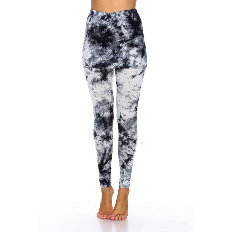 Women's Tie Dye Skirted Leggings by Whitemark-Black-M-Daily Steals