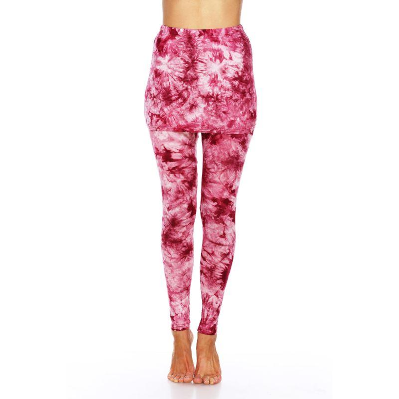 Women's Tie Dye Skirted Leggings by Whitemark-Burgundy-XL-Daily Steals