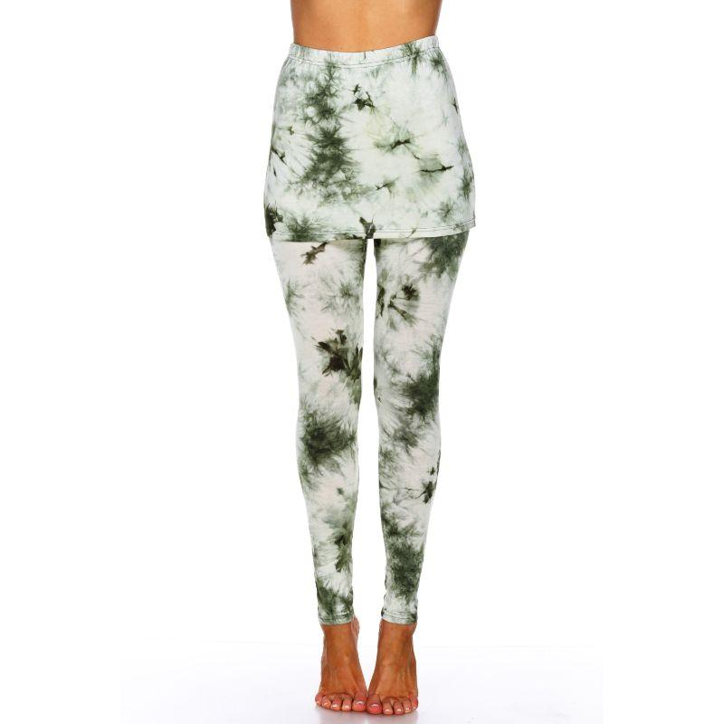 Women's Tie Dye Skirted Leggings by Whitemark-Olive-M-Daily Steals