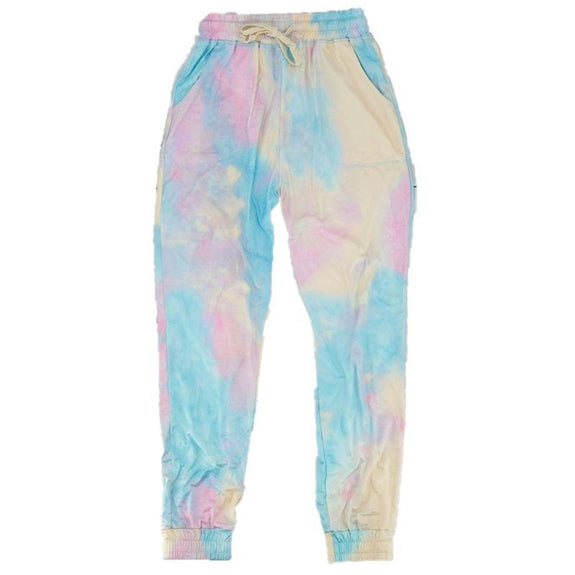 Womens Tie Dye Sweatpants-Pink-XL-