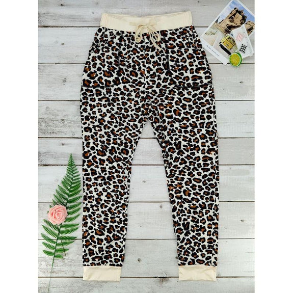 Womens Tie Dye Sweatpants-Leopard-L-