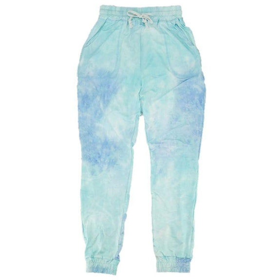 Womens Tie Dye Sweatpants-Blue-L-