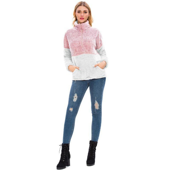 Women's Two Tone Plush Pullover with Pockets-Daily Steals