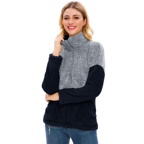 Women's Two Tone Plush Pullover with Pockets-Blue-L-Daily Steals