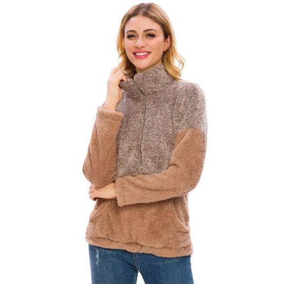 Women's Two Tone Plush Pullover with Pockets-Coffee-M-Daily Steals