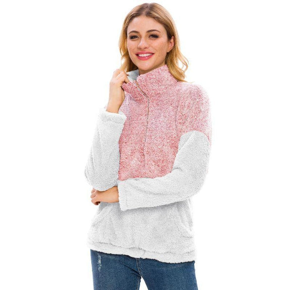 Women's Two Tone Plush Pullover with Pockets-Pink-L-Daily Steals