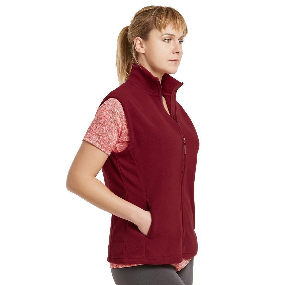 Daily Steals-Womens Zip Up Sleeveless Polar Fleece Vest-Women's Apparel-Burgundy-Medium-