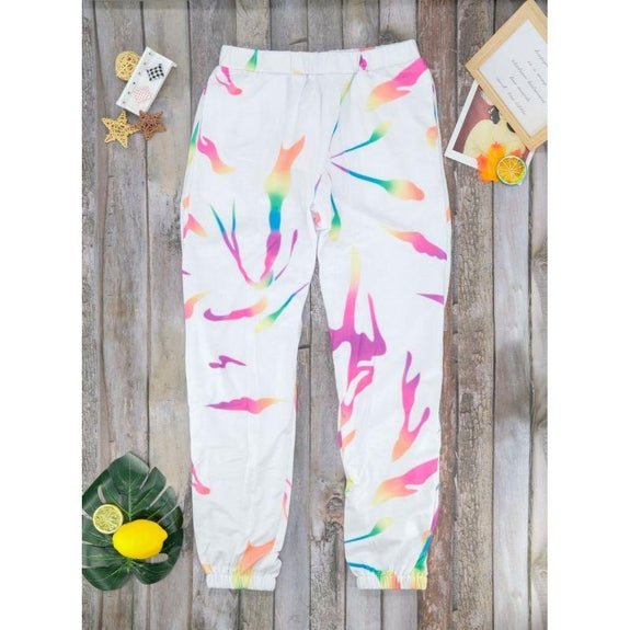 Womens Multi-Color Tie Dye Joggers-Daily Steals