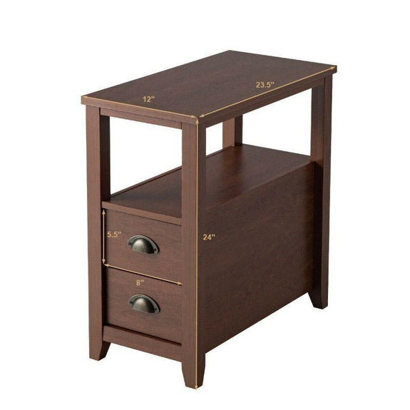 Wooden 2 Drawer Bedside Brown End Tables - Set of 2-Daily Steals
