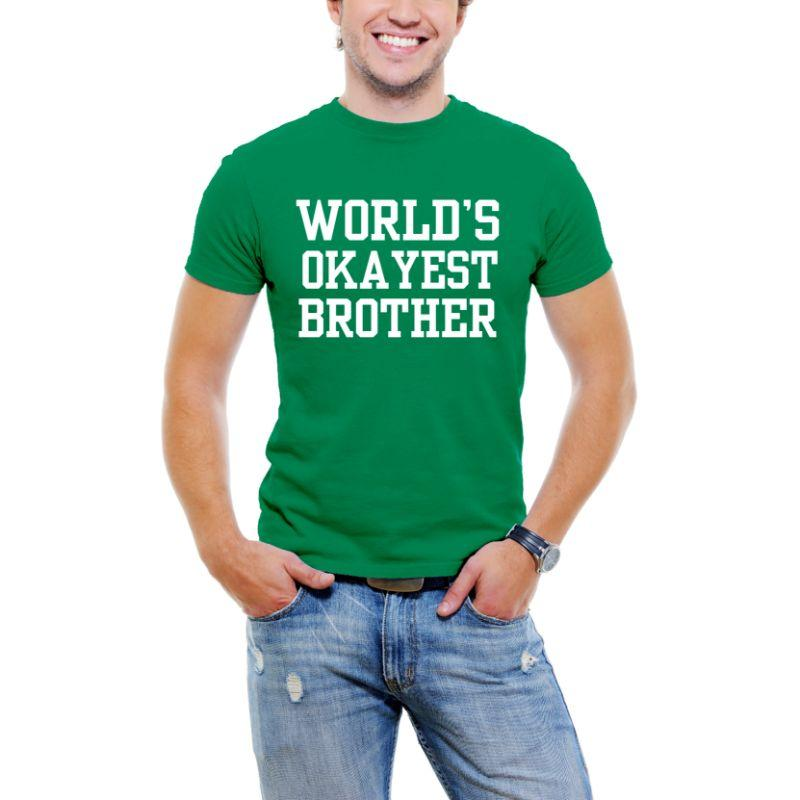 """World's Okayest Brother"" T-shirt Funny Serif Font pour Men-Green-3XL-Daily Steals"