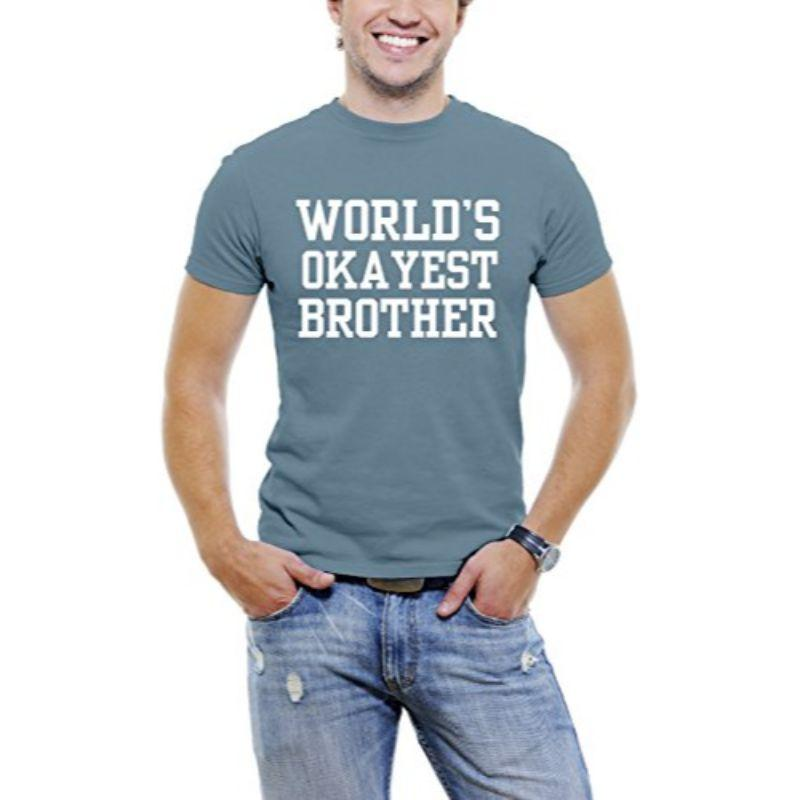 """World's Okayest Brother"" T-shirt Funny Serif Font pour hommes-Bleu ardoise-S-Daily vole"