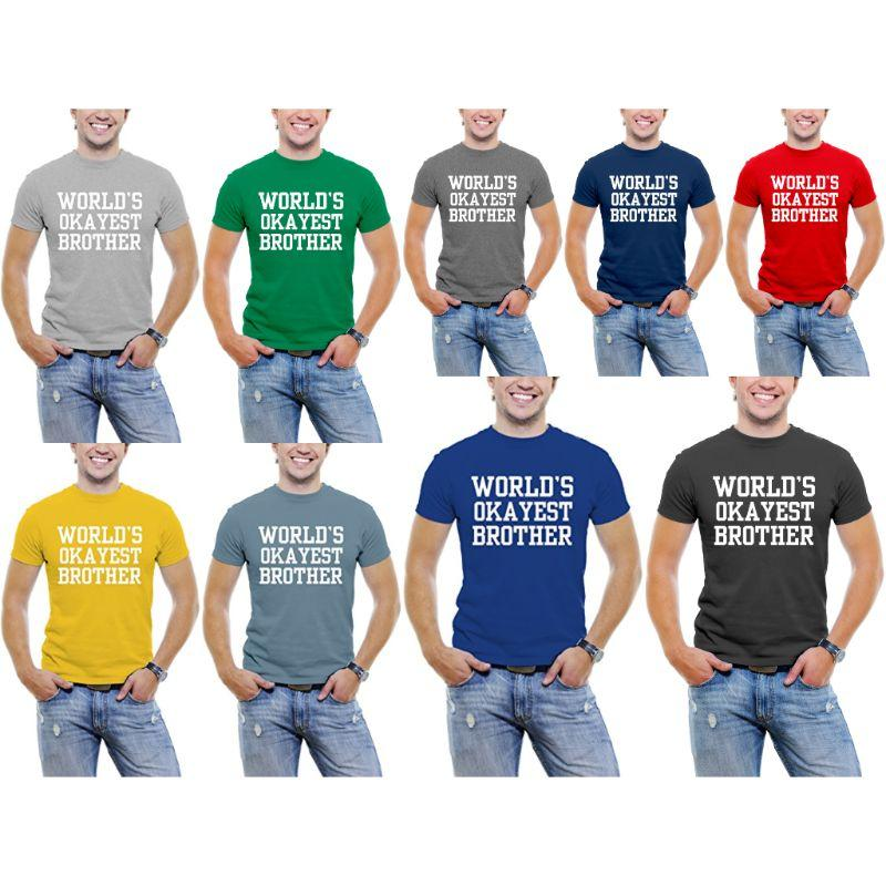 "T-shirt ""Police Serif drôle"" pour les hommes-Daily Steals ""World's Okayest Brother"""