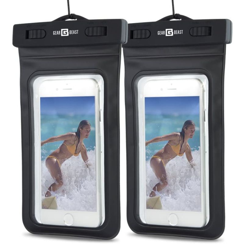 PVC Protective Waterproof Bag for Smartphones With Clip & Strap - 2 Pack-Black-Daily Steals