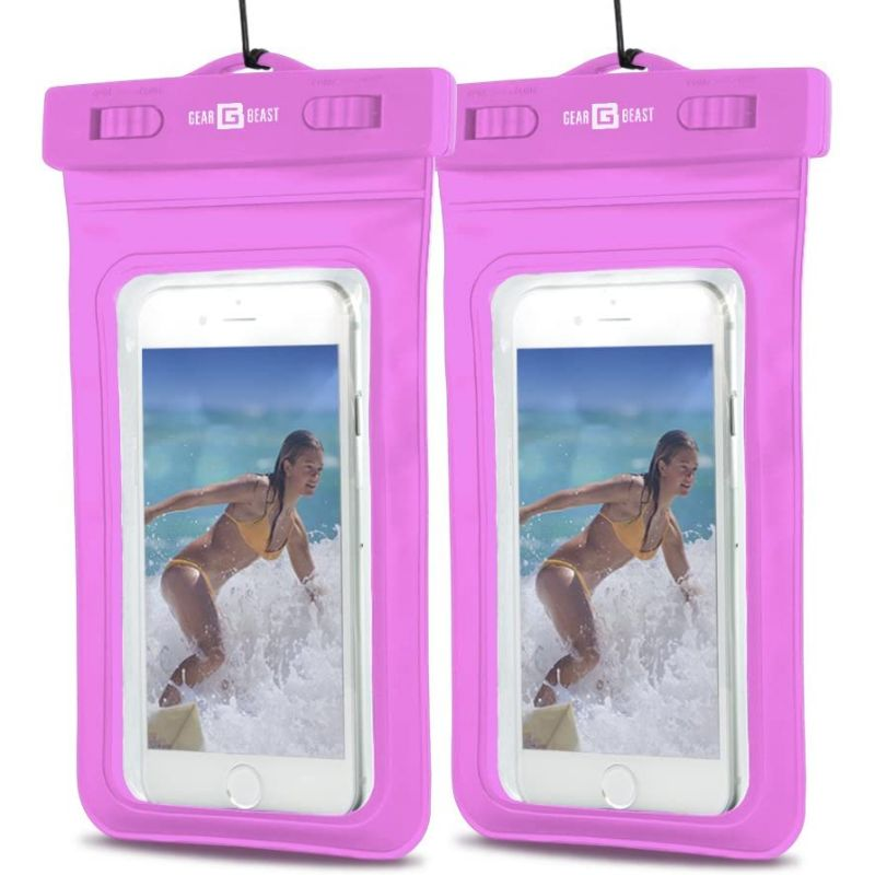 PVC Protective Waterproof Bag for Smartphones With Clip & Strap - 2 Pack-Pink-Daily Steals