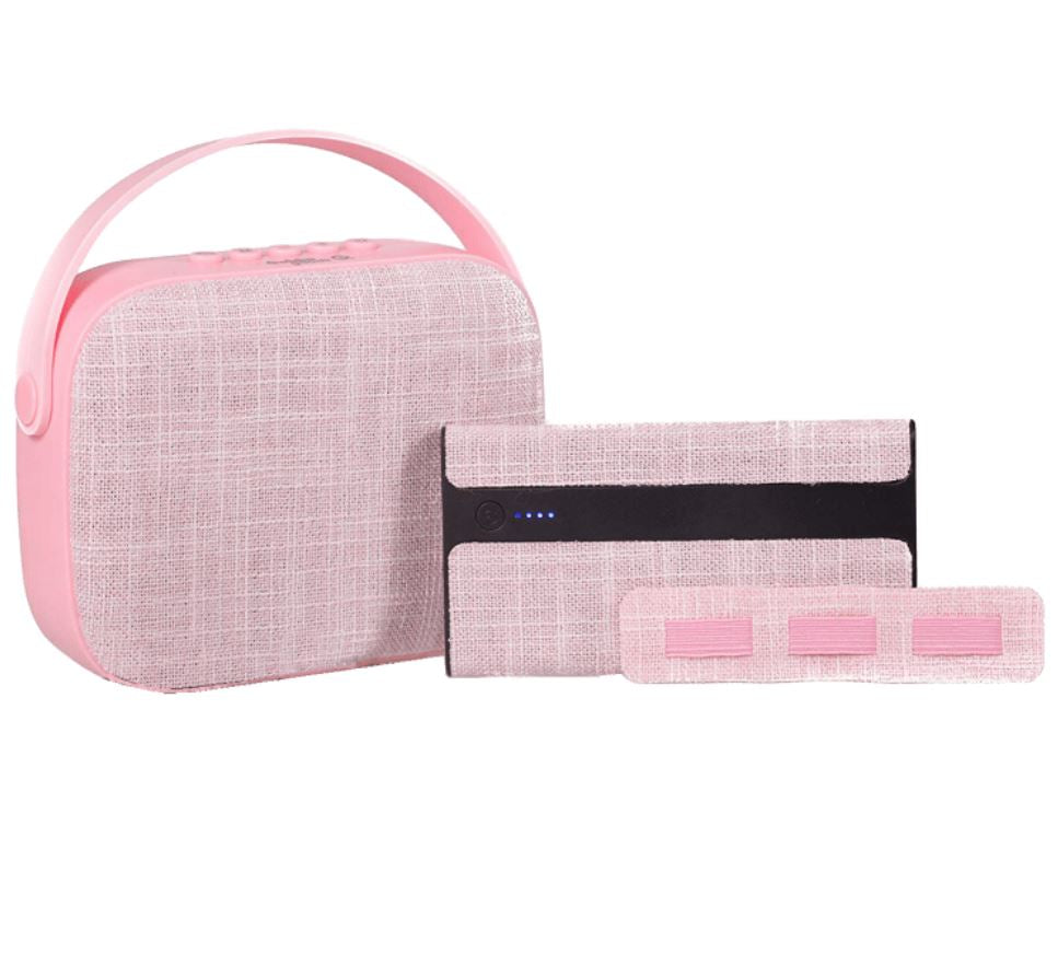 3-Piece Gift Set with Bluetooth Clutch Speaker & 4000mAh Power Bank-Pink-Daily Steals