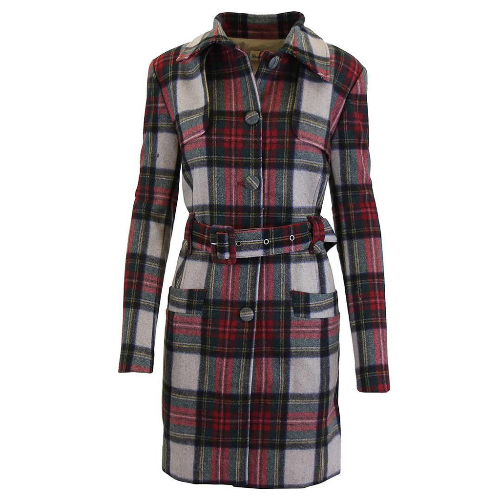 Women's Plaid Wool Trench Coat-Red/Grey-Large-Daily Steals