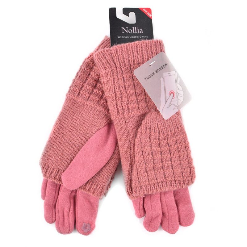 Cable Knit Womens Touch-Screen Winter Gloves-Pink-Daily Steals