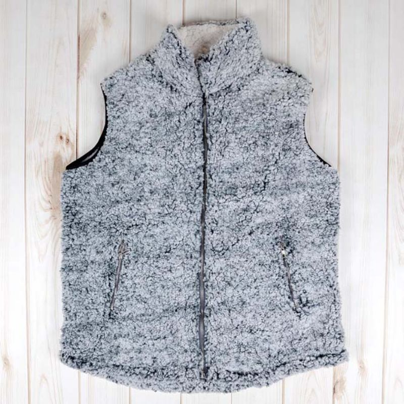 Super Soft Teddy Gilet - Chiné Noir - Grand - Vole Quotidienne