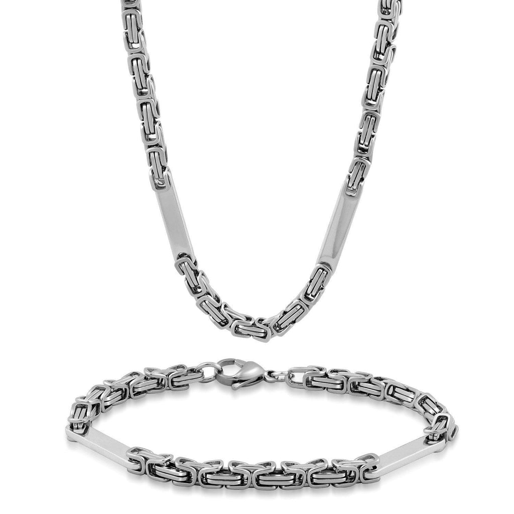 Men's Stainless Steel Small Byzantine W/ Bar Necklace and Bracelet Set-White-Daily Steals
