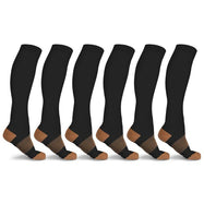 xFit Copper-Infused Compression Socks - 6 Pack-Brown-S/M-