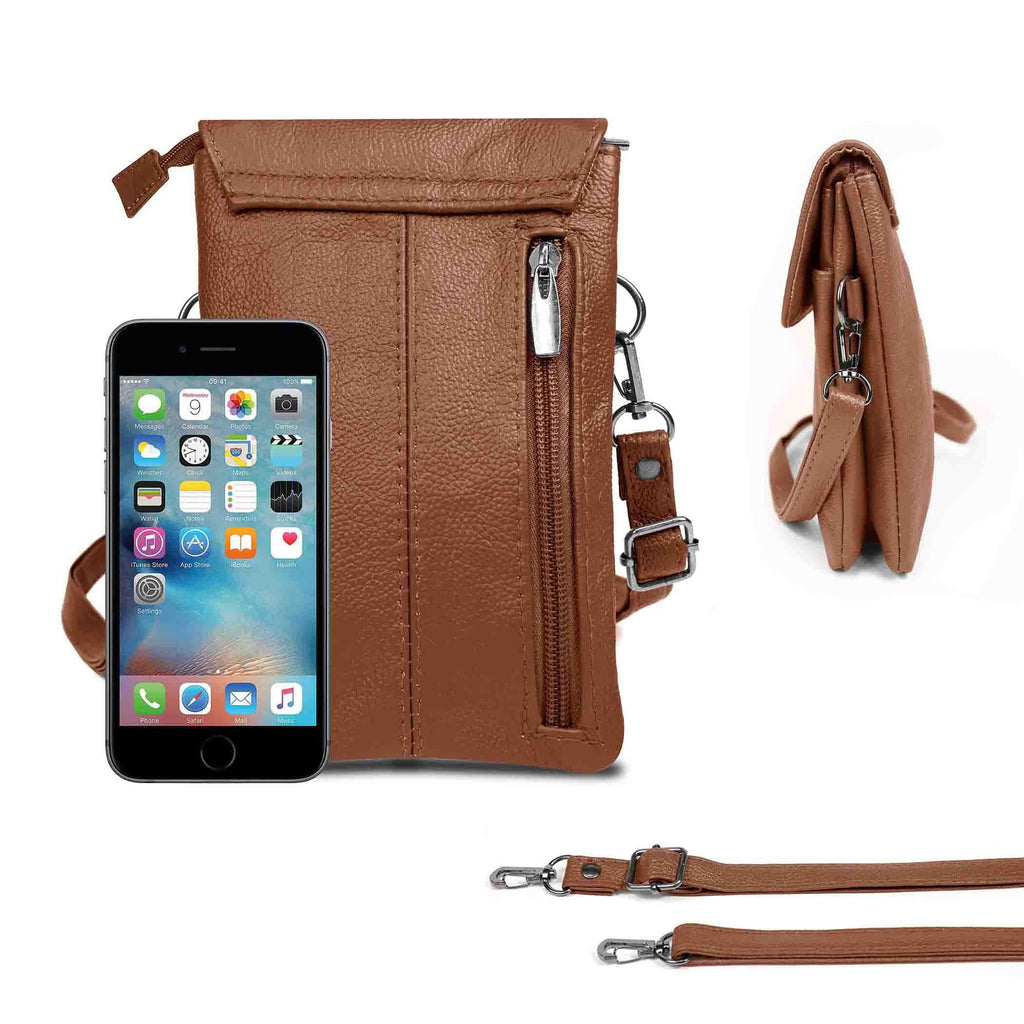 Genuine Leather Cell-Phone Cross-Body Wallet Purse-Brown-Daily Steals