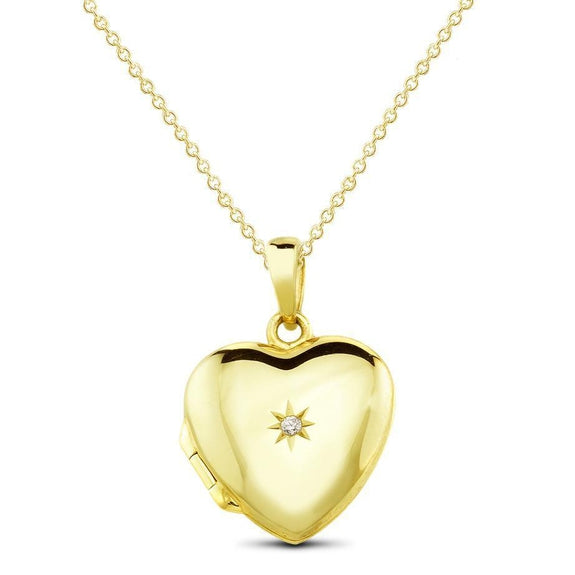 Yellow Gold Plated Sterling Silver Locket Drop Necklace-