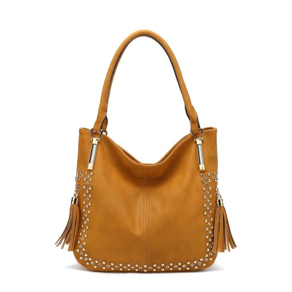 MKF Collection Betsy Shoulder Bag by Mia K. Farrow-Yellow-Studded-Daily Steals