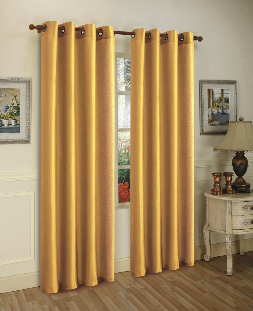 Mira Faux Silk Curtains with Bronze Grommets - 3 Panels-Yellow-Daily Steals