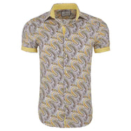 Suslo Couture Men's Slim Fit Designable Printed Short Sleeve Button Down Shirt-Yellow & Light Yellow Paisley-S-Daily Steals