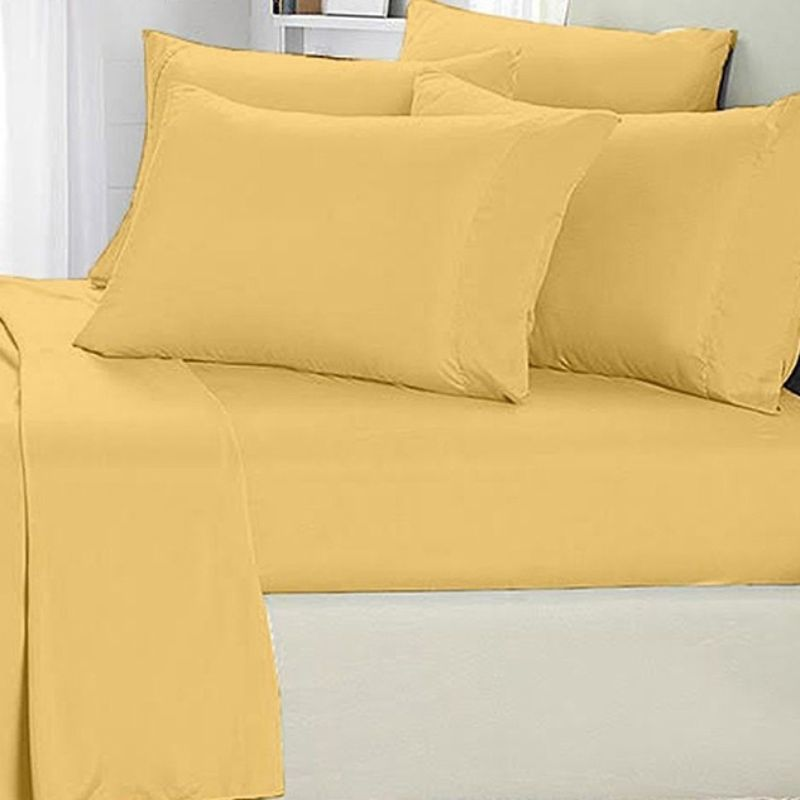 [4-Piece] Luxurious 1,000 Thread Count Egyptian Cotton Sheet Sets-Yellow-King-Daily Steals