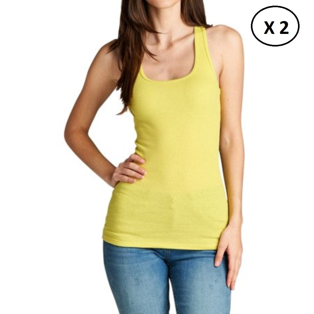 Women's 100% Cotton Daily Tank Top - 2 Pack-Yellow-L-Daily Steals