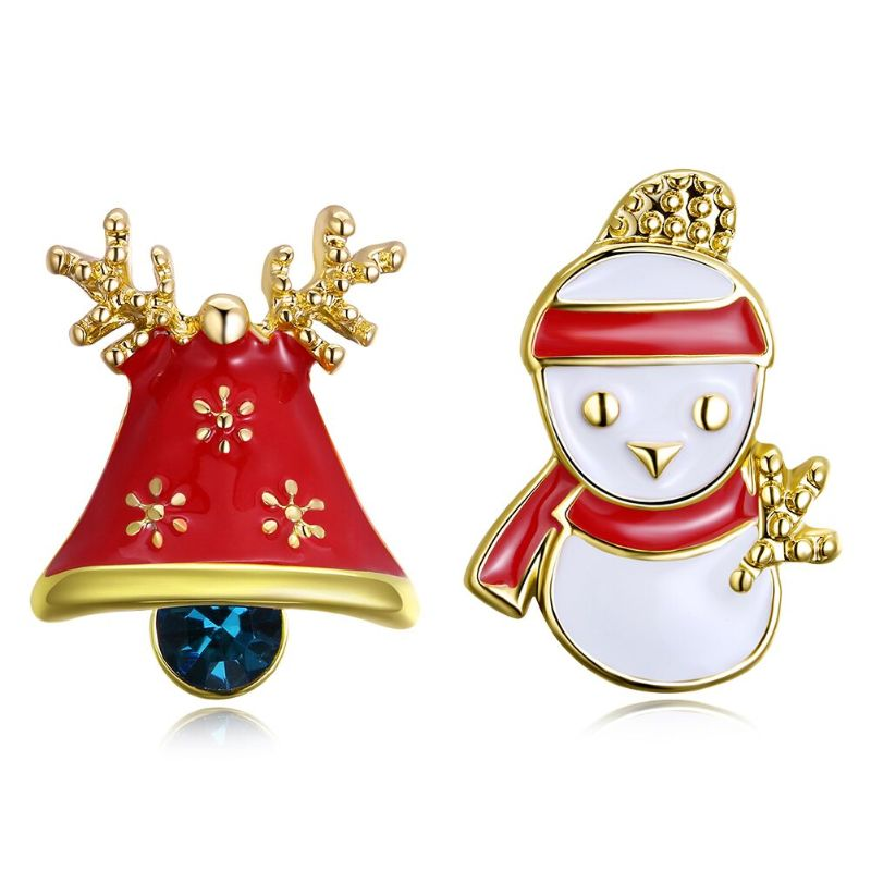 Enamel Snowman Studs in 14K Gold Plating-Yellow Gold-Daily Steals