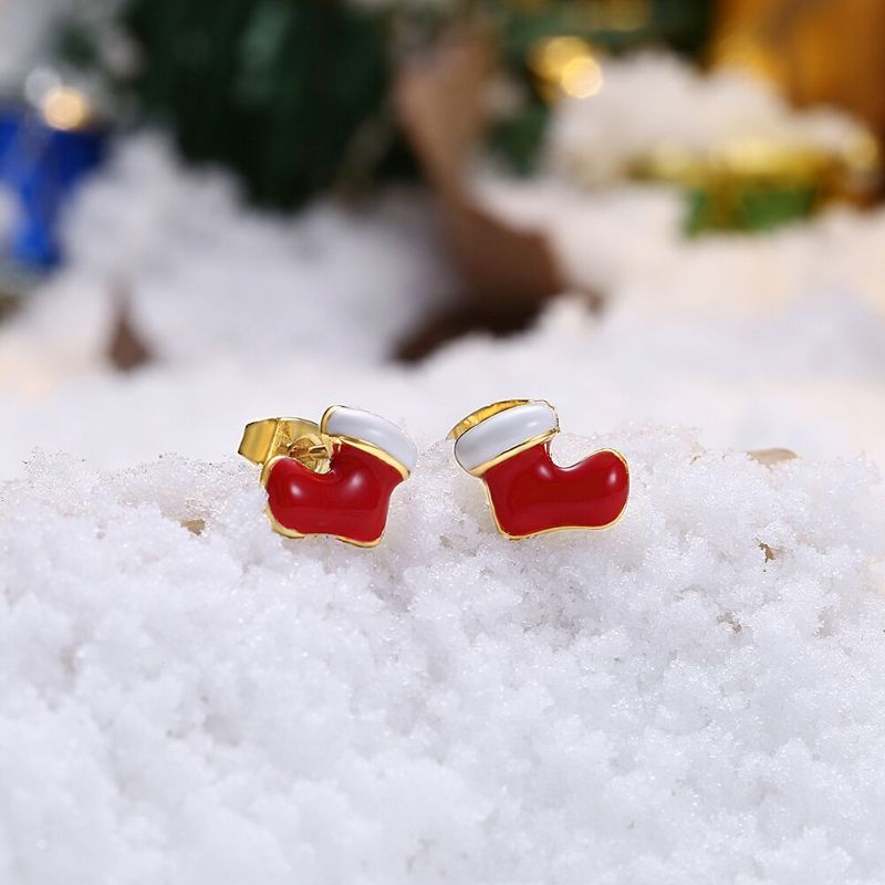Enamel Snowman Studs in 14K Gold Plating-Daily Steals