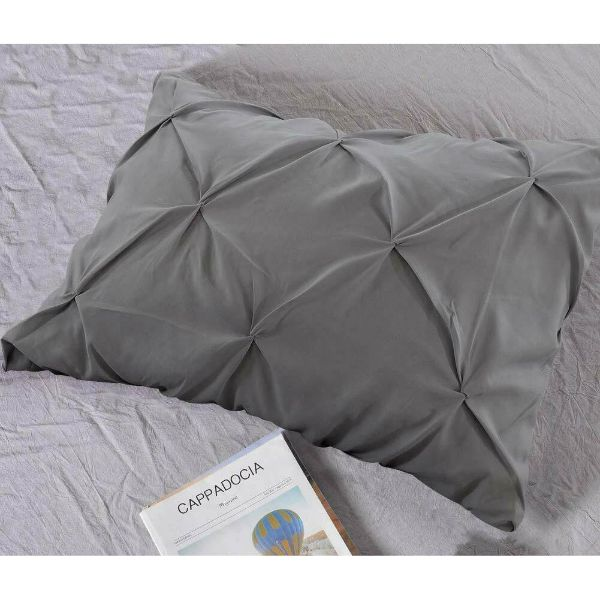 Laura's Lace 3 Piece Pintuck Pinch Pleated Duvet Cover - Zipper Closure-Daily Steals