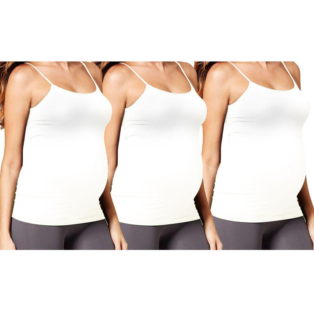 Premium Maternity Camisole - 3 Pack-White, White, White-Daily Steals