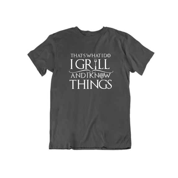That's What I Do I Grill and I Know Things T Shirt-Charcoal-Small-Daily Steals