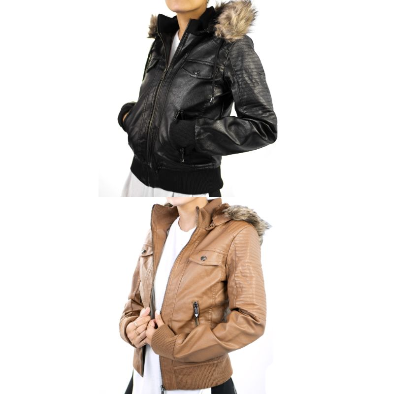 Hollyland Women's Faux Leather Motorcycle Jacket with Faux Fur Hood