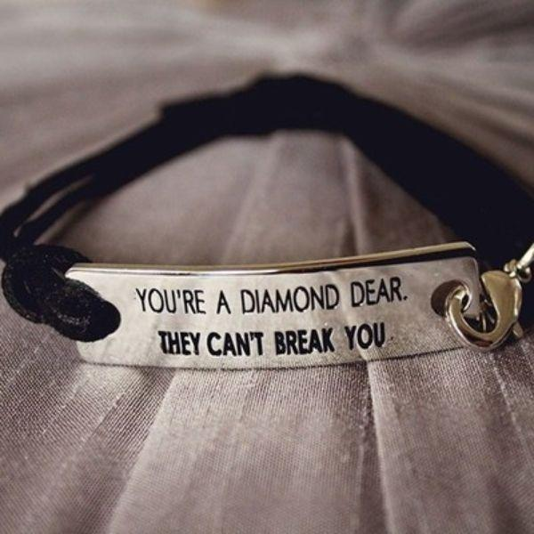 "Daily Steals-""You're a diamond dear. They can't break you"" inspirational bracelet-Accessories-"