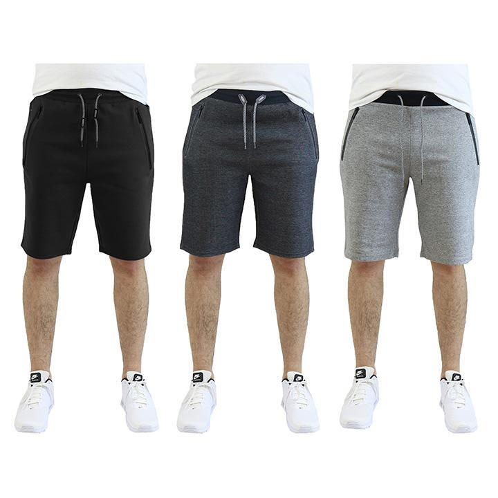 Men's Tech Fleece Shorts With Zipper Pockets - 3 Pack-Black - Heather Grey - Dark Grey-2X-Large-Daily Steals