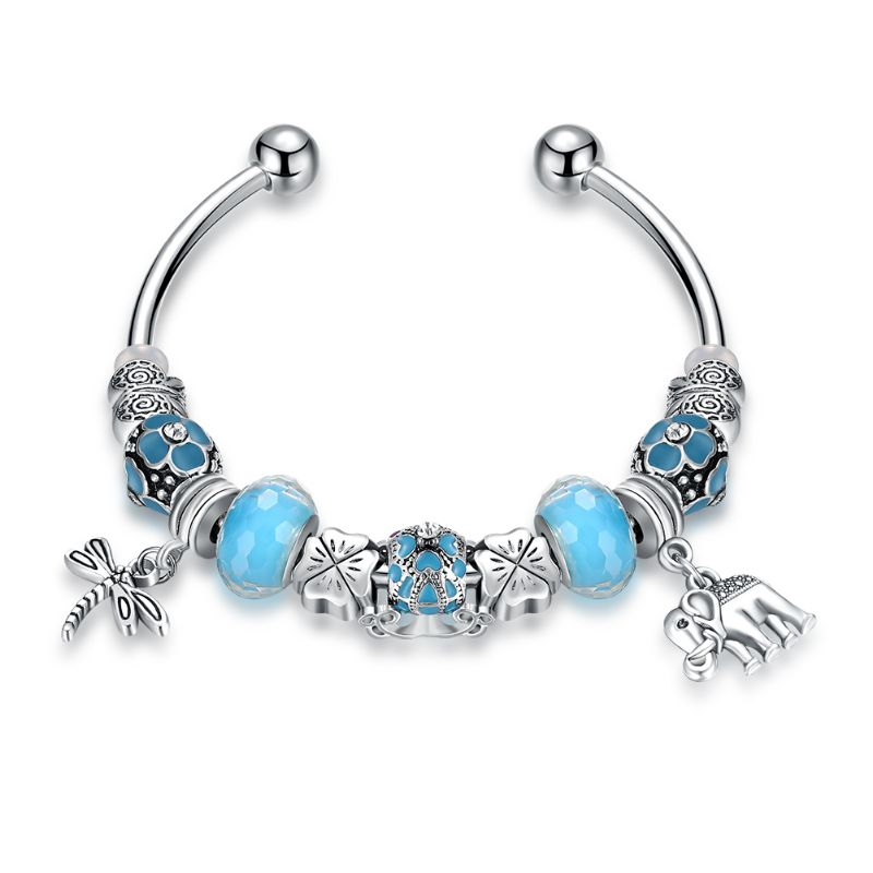 "Murano Glass Flower Charm Bracelet in 18K with Swarovski Crystals-6.5""-Light Blue Flower-Daily Steals"