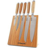 Daily Steals-Zenware 6 Piece German High Carbon Stainless Steel Kitchen Knives Set with Natural Bamboo Magnetic Knife Block Holder-Kitchen-