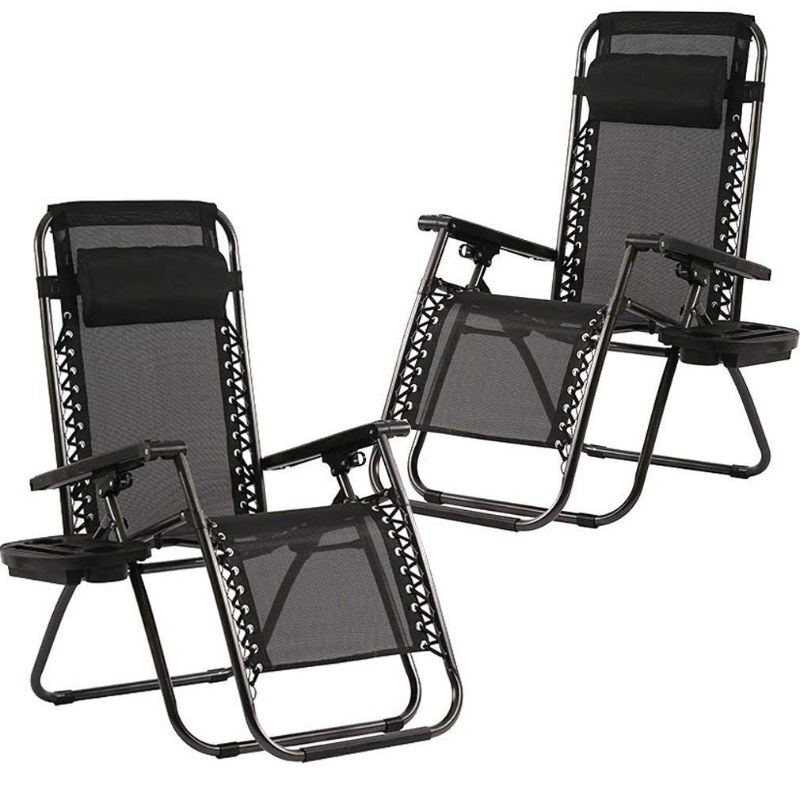 Zero Gravity Patio Adjustable Reclining Chair With Pillows - 2 Set-Daily Steals