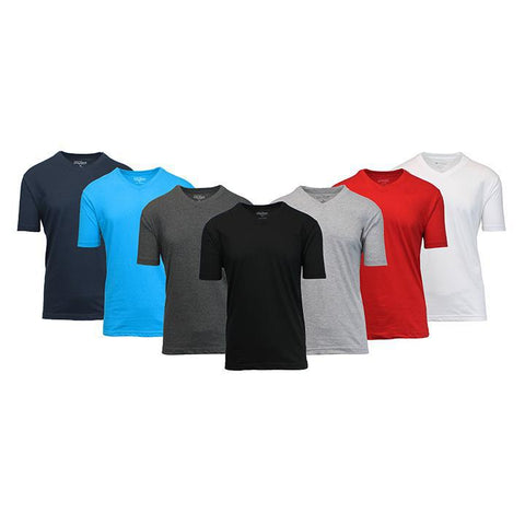 Daily Steals-Men's Premium Cotton Blend Short Sleeve V-Neck Tees - 5 Pack-Men's Apparel-Black - Black - Heather Grey - Heather Grey - White-X-Large-