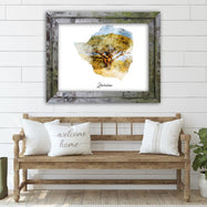 "Zimbabwe Watercolor Map Print - Unframed Art Print-14""x11""-Horizontal/Landscape-Daily Steals"