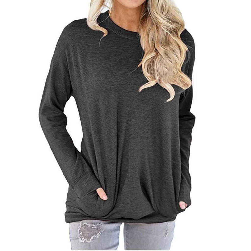 Solid Long Sleeve Shirt-Dark Grey-2X-Daily Steals