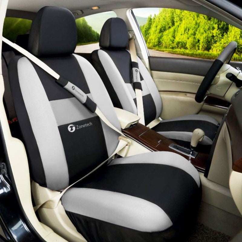 Zone Tech Full Set of Gray and Black Car Interior Covers-Daily Steals