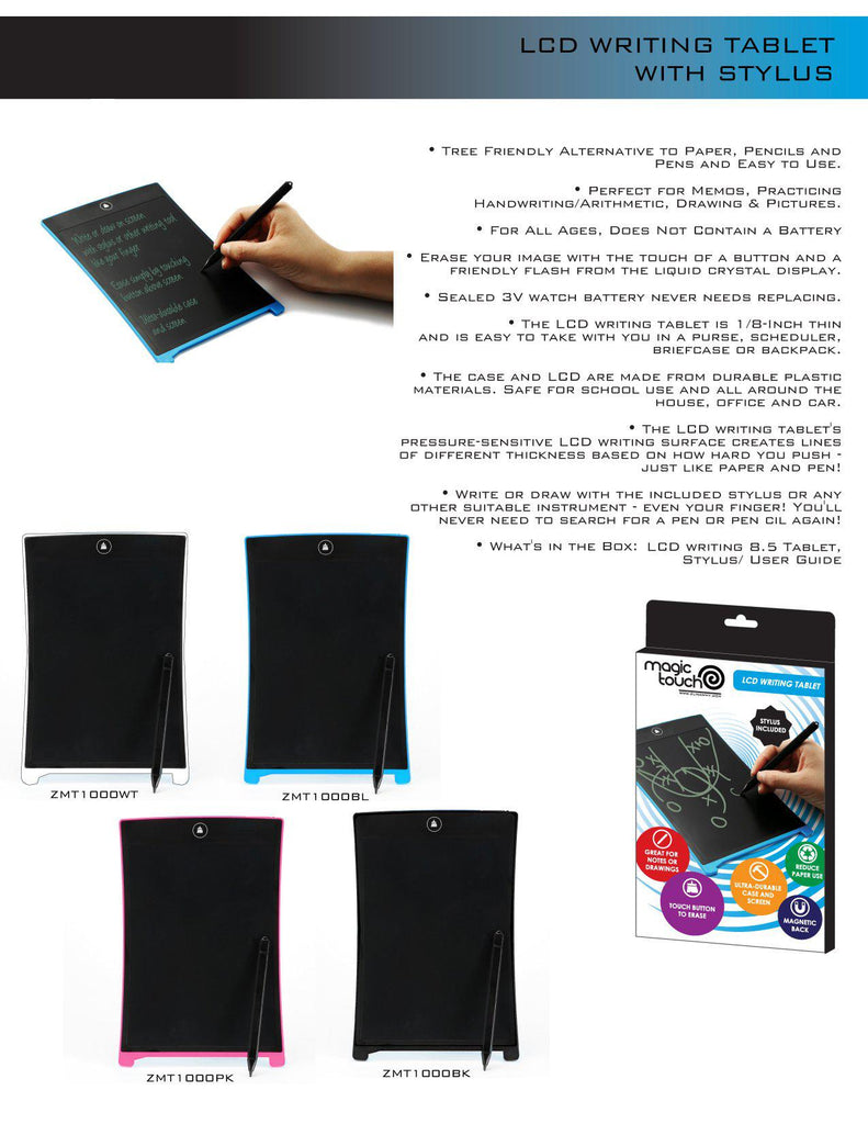 "Magic Touch Ultra-Thin 8.5"" LCD Magnetic-Back Writing Tablet with Stylus - Assorted Colors-Daily Steals"