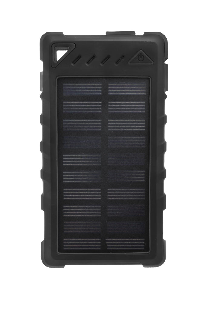 Ultra-Compact High-Speed 8,000mAh Portable Solar Smartphone Charger with LED Flashlight-Black-Daily Steals